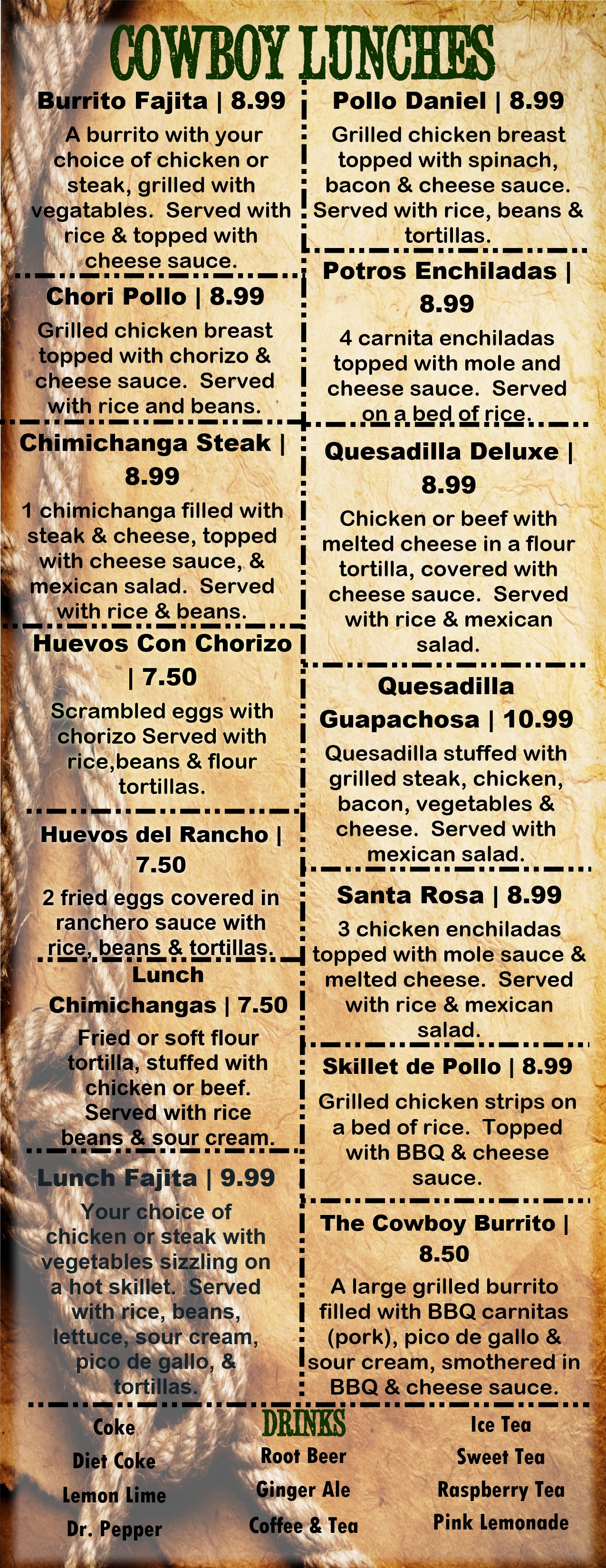 Lunch Menu - El Cowboy Tex Mex Grill  Saloon-8851
